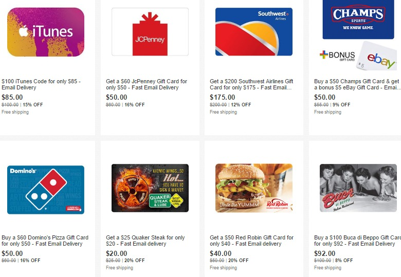 Discounted Gift Cards On Ebay; 20% Off Red Robin