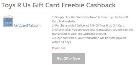 Toys R Us Gift Card Freebie CashBack  Free Maximum CashBack  15.00.jpeg